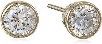 Swarovski Amazon Collection Yellow Gold Plated Sterling Silver Bezel Stud Earrings set with Zirconia (1 cttw)