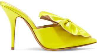 Alexandre Vauthier Kate Bow-embellished Satin Mules - Chartreuse