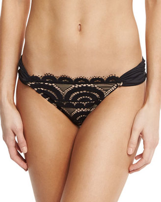 PilyQ Midnight Lace Shirred-Side Swim Bottom $72 thestylecure.com