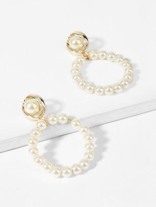 Shein Faux Pearl Decorated Hoop Drop Earrings 1pair