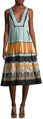 Temperley London Foxglove Printed Fit-And-Flare Dress