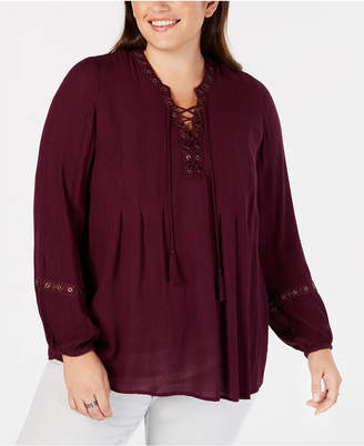 Style&Co. Style & Co Plus Size Lace-Up Crochet-Trim Peasant Top