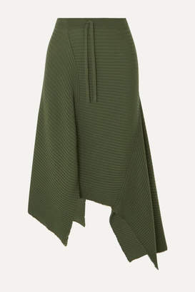 Marques Almeida Marques' Almeida - Asymmetric Draped Distressed Ribbed Wool Skirt - Army green