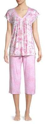 Miss Elaine Two-Piece Floral-Print Pajama Set