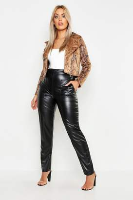 boohoo Plus Leather Look Pocket Tapered Pants