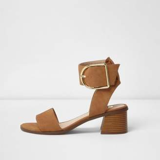 River Island Womens Brown oversized buckle sandals
