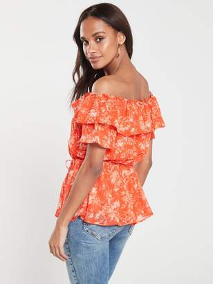 Very Floral Printed Bardot Top - Red Floral