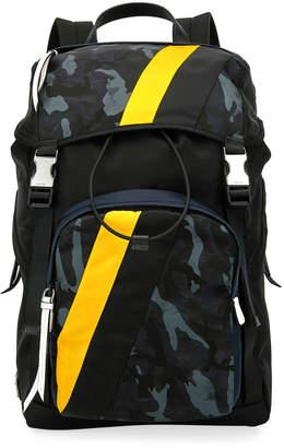 6785999f5152 Prada Men's Tessuto Camouflage Stripe Backpack
