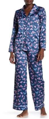 Munki Munki Moth Print Satin Pajama 2-Piece Set