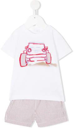 Il Gufo off-road car print T-shirt and shorts set