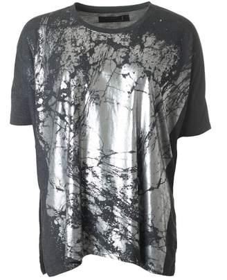 Religion Motif Metallic Print T-shirt