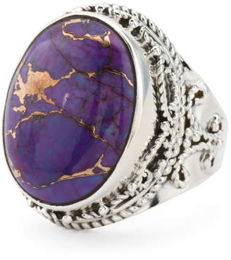 Made In India Sterling Silver Purple Copper Turquoise Ring