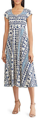 Chaps Petite Fit-and-Flare Jersey Printed Dress
