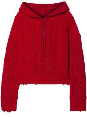 RtA Distressed Metallic Cable-knit Cotton Hooded Sweater