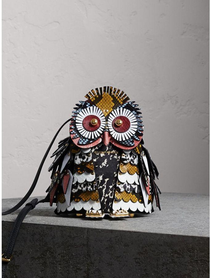 Burberry The Owl - Calf Suede and Calf Hair Crossbody Bag