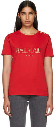Balmain Red Logo T-Shirt