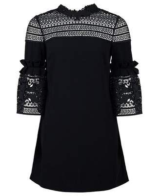 a6efb7d24 Ted Baker Lucila Lace Panel Bell Sleeved Dress Colour  BLACK