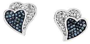 Affinity Diamond Jewelry Blue & White Diamond Heart Earrings, Sterling b