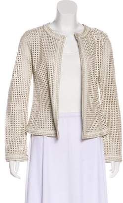 Tory Burch Laser-Cut Open-Front Leather Jacket