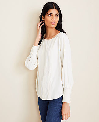 Ann Taylor Pintucked Boatneck Blouse