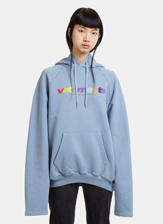 Oversized Die Regionalbahn Hooded Sweatshirt in Light Blue