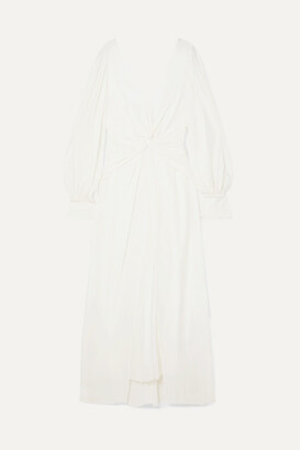Self-Portrait Self Portrait Pleated Twisted Jersey Midi Dress