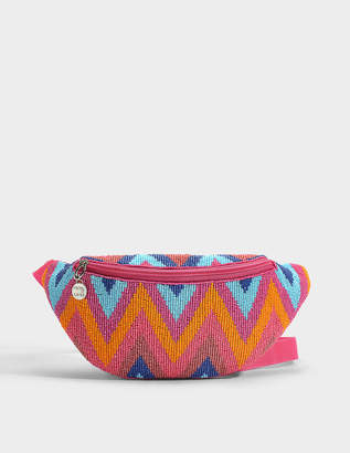 Dara Waist Bag in Orange and Blue Beads and Polyester