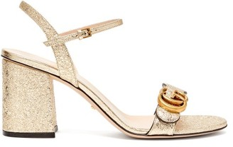 Gucci Gg Marmont Metallic Leather Sandals - Womens - Gold