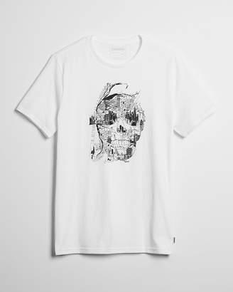 Express Skull Map Crew Neck Graphic Tee