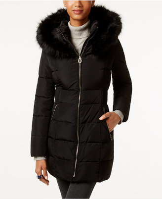 Ivanka Trump Faux-Fur-Trim Hooded Down Puffer Coat $350 thestylecure.com
