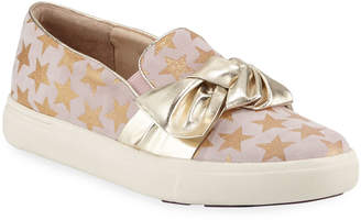 Neiman Marcus Olery Glittered Bow Sneakers Gold