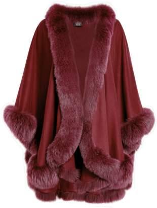 Sofia Cashmere Cashmere Cape With Fox Fur Trim