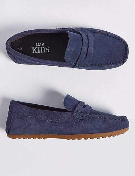 Kids' Suede Driving Shoes (13 Small - 7 Large)