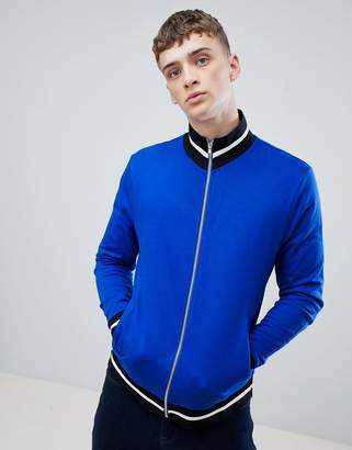 Asos DESIGN jersey track jacket in bright blue with contrast tipping