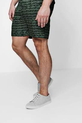 boohoo Khaki Printed Drawstring Shorts