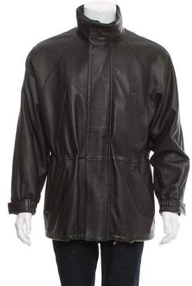 Loro Piana Leather Cashmere-Lined Zip-Up Jacket