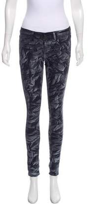 Paige Metallic-Accented Low-Rise Jeans