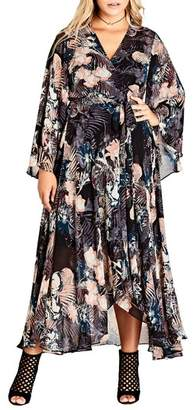 City Chic Dark Palm Wrap Maxi Dress