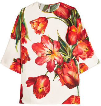 Dolce & Gabbana - Floral-print Silk-twill Blouse - Red $1,045 thestylecure.com