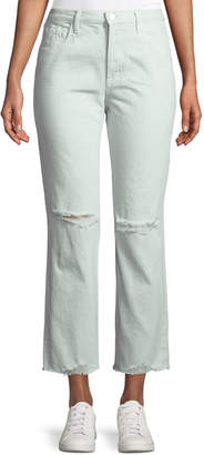 J Brand Wynne Cropped Straight-Leg Jeans with Ripped Knee, Spearmint