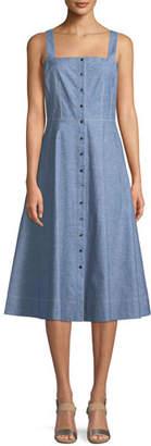 Lafayette 148 New York Astute Denim Fit-and-Flare Button Dress