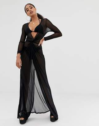 Missguided mesh plunge beach dress in black 488bf37d3
