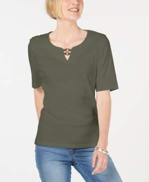 Karen Scott Cotton Cutout Ring-Neck Top, Created for Macy's