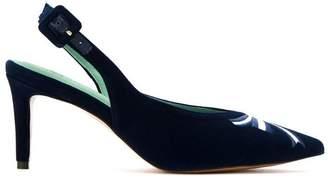 Blue Bird Shoes velvet Diana Love sling-back embroidered pumps