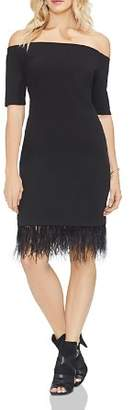 Vince Camuto Off-the-Shoulder Embellished-Hem Dress