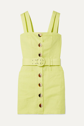 Nicholas Belted Linen Mini Dress - Chartreuse