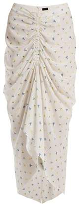 Joseph Floral Print Ruched Skirt - Womens - White Print
