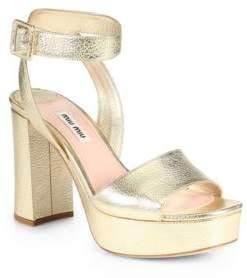 Miu Miu Madras Metallic Leather Ankle-Strap Platform Sandals