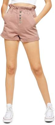 Topshop Paperbag Waist Denim Shorts