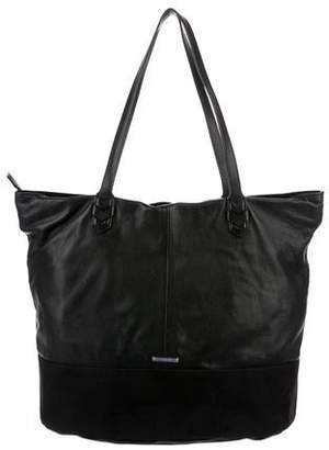 Rebecca Minkoff Canvas-Trimmed Leather Tote